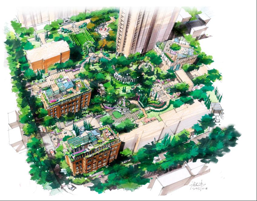 图1-9 :小场地方案设计       绘聚手绘合伙人,景观设计师